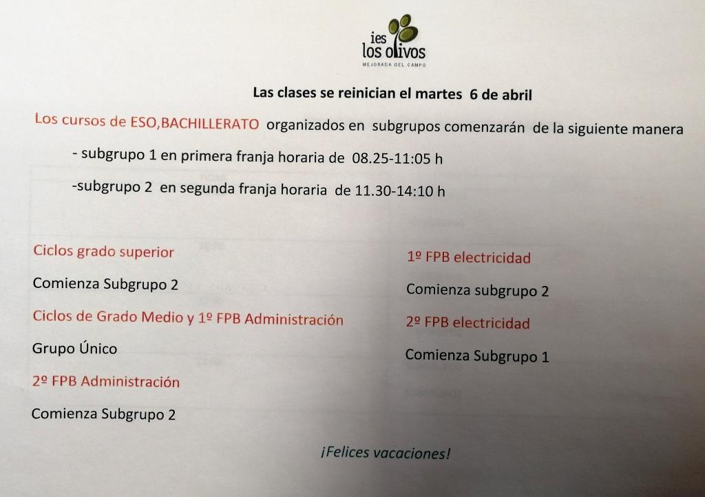 Inicio de clases martes 6 de abril