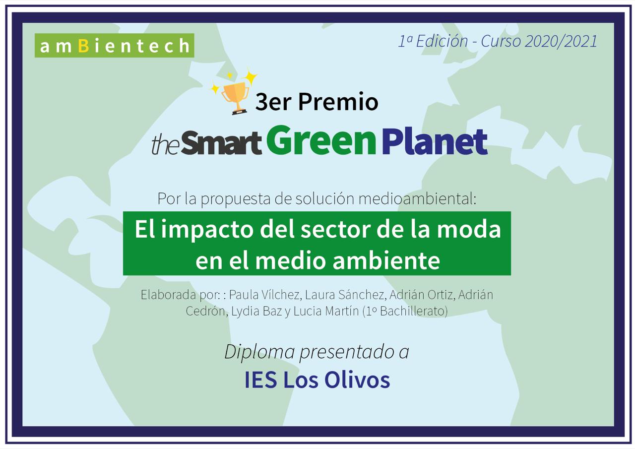 The Smart Green Planet: el camino hacia el desarrollo sostenible. Un premio para los alumnos de 1º Bach.